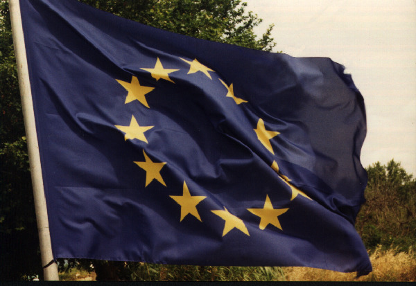 Early European flag flying at La Cascade Restaurant